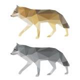 Sistema geométrico poligonal abstracto del lobo del triángulo aislado en el fondo blanco para el uso en diseño Foto de archivo