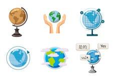 Sistema global del icono, estilo de la historieta libre illustration