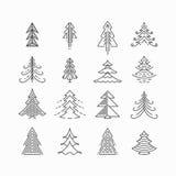 Sistema gráfico del árbol de navidad ilustración del vector