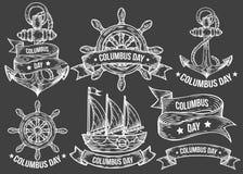 Sistema grabado ejemplos dibujado mano feliz del vector del día de Colón Imagen de archivo