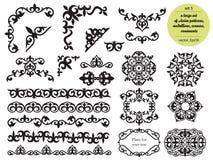 Sistema grande asi?tico de modelos y de ornamentos Sistema de las fronteras incons?tiles, ?ngulos hermosos, medallones Oriental,  stock de ilustración
