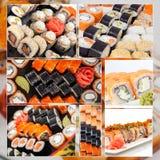 Sistema grande clasificado de la foto del collage del sushi Fotografía de archivo libre de regalías