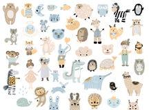 Sistema grande de animales domésticos salvajes de los animales de la historieta Colección handdrawn linda del clip art de los niñ fotos de archivo libres de regalías