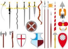 Sistema grande de armas medievales Imagen de archivo libre de regalías
