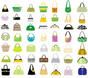 Sistema grande de bolsos de las mujeres Imagen de archivo