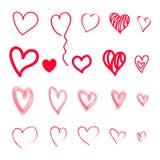 Sistema grande de corazones rojos sucios exhaustos de la mano fotografía de archivo libre de regalías