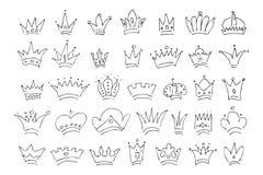 Sistema grande de coronas simples del bosquejo de la pintada libre illustration