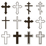Sistema grande de cruces cristianas de la ortodoxia en diversos estilos y de formas aisladas en el fondo blanco Imagenes de archivo