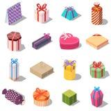 Sistema grande de diversas cajas del presente y de regalo Foto de archivo libre de regalías