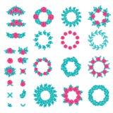 Sistema grande de elegnat y elementos y marcos del diseño bastante floral El color de rosa se levantó con las hojas Fotos de archivo libres de regalías