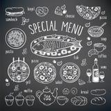 Sistema grande de elementos de la comida Imágenes de archivo libres de regalías