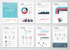 Sistema grande de elementos del vector y de folletos infographic del negocio
