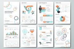 Sistema grande de elementos del vector y de folletos infographic del negocio Imagenes de archivo