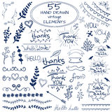 Sistema grande de 55 elementos dibujados mano del diseño Vector Azul en blanco foto de archivo libre de regalías