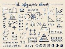 Sistema grande de elementos y de garabatos infographic ilustración del vector