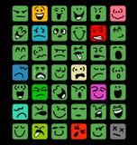 Sistema grande de expresiones faciales de la historieta Imagenes de archivo