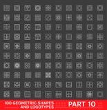 Sistema grande de 100 formas monocromáticas geométricas mínimas Foto de archivo libre de regalías