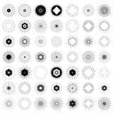 Sistema grande de formas retras de la explosión de Sun Logotipo del vintage, etiquetas, insignias Imagen de archivo
