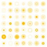 Sistema grande de formas retras de la explosión de Sun Logotipo de 49 vintages, etiquetas, badg Fotos de archivo