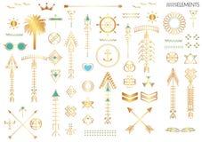Sistema grande de formas y de logotipos geométricos del inconformista Imágenes de archivo libres de regalías