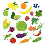 Sistema grande de frutas, de verduras y de bayas en diseño plano aisladas en el fondo blanco Comida vegetariana Infographic ilustración del vector