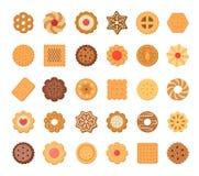 Sistema grande de galletas y de galletas Aislado en el fondo blanco ilustración del vector