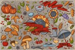 Sistema grande de garabatos a mano coloreados en tema del otoño stock de ilustración
