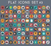 Sistema grande de iconos planos del vector con colores modernos Fotografía de archivo