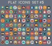 Sistema grande de iconos planos del vector con colores modernos Imágenes de archivo libres de regalías