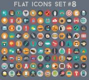 Sistema grande de iconos planos del vector con colores modernos Fotos de archivo libres de regalías
