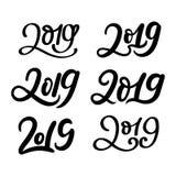 Sistema grande de 2019 inscripciones dibujadas mano Año Nuevo y la Navidad libre illustration