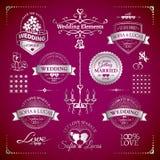 Sistema grande de insignias clásicas del vintage de la boda Imagenes de archivo