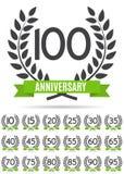 Sistema grande de la colección de la plantilla Logo Anniversary Vector Illustration Foto de archivo libre de regalías