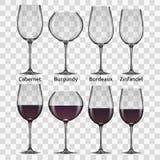 Sistema grande de la copa de vino de los rojos Imagen de archivo