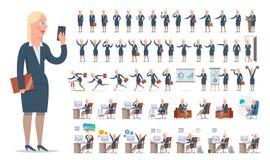 Sistema grande de la creación del carácter de la empresaria o del encargado Distintas vistas, gestos, emociones libre illustration