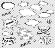 Sistema grande de la historieta, burbujas cómicas del discurso, nubes vacías del diálogo en el estallido Art Style Ejemplo del ve Fotografía de archivo libre de regalías