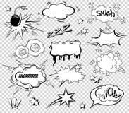 Sistema grande de la historieta, burbujas cómicas del discurso, nubes vacías del diálogo en el estallido Art Style Ejemplo del ve Imagen de archivo libre de regalías