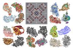Sistema grande de la línea original diseño floral adornado del drenaje de la mano del arte ilustración del vector