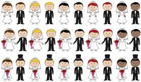 Sistema grande de la novia y del novio Stick Figures del vector Fotos de archivo