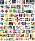 Sistema grande de las plantillas modernas infographic - cuadrados Imagenes de archivo