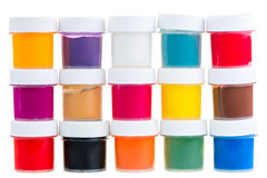 Sistema grande de latas de la pintura del aguazo Imagenes de archivo