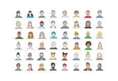 Sistema grande de los avatares de la gente para los medios sociales, sitio web L?nea muchachas e individuos de moda de los retrat stock de ilustración