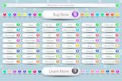 Sistema grande de los botones para el sitio stock de ilustración
