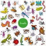 Sistema grande de los caracteres animales de los insectos de la historieta stock de ilustración