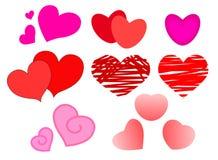 Sistema grande de los corazones para el día del ` s de la tarjeta del día de San Valentín Imagen de archivo
