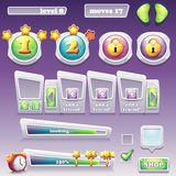 Sistema grande de los elementos para los juegos de ordenador y el diseño web progreso Foto de archivo libre de regalías