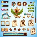 Sistema grande de los elementos styles de la historieta para el diseño de interfaz en el oeste salvaje del juego Fotos de archivo libres de regalías