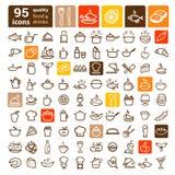 Sistema grande de los iconos de la comida Fotos de archivo libres de regalías