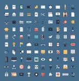 Sistema grande de los iconos planos del negocio y de las finanzas Imagen de archivo libre de regalías