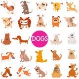 Sistema grande de los personajes de dibujos animados divertidos del perro stock de ilustración